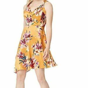 Bar III 14 Yellow Floral Asymmetrical Dress K8-04
